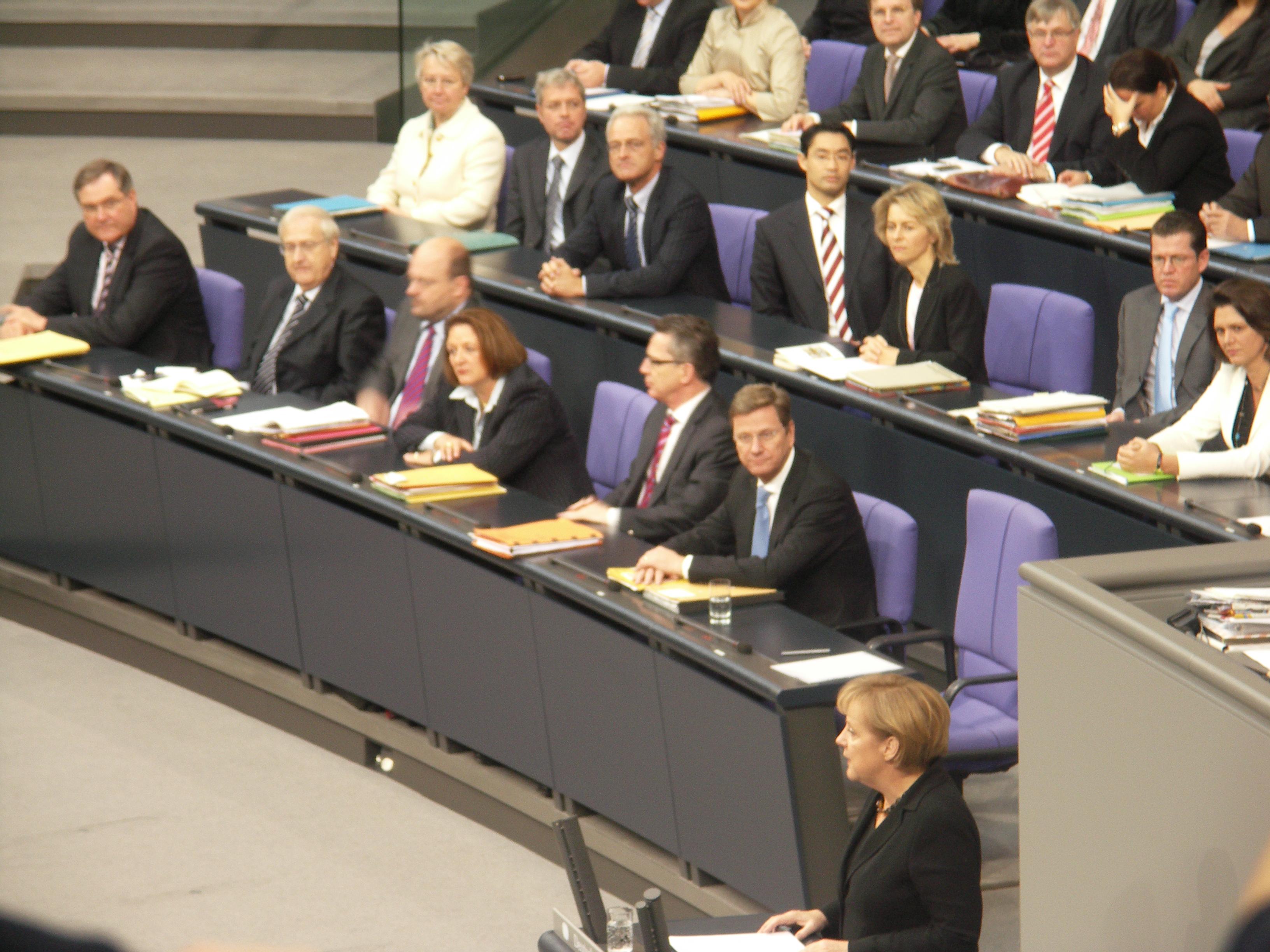 Angela Merkel im Bundestag. Foto: Landwehr