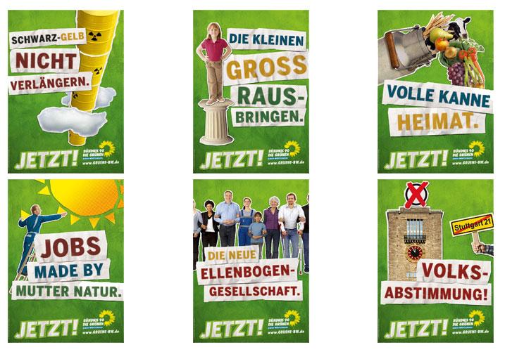 """Die Plakate der Grünen, Screenshot von meinekampagne.gruene.de. Dazu schreiben Sie """"JETZT! – wir begrünen die Straßen Baden-Württembergs. Mit unseren Plakaten machen wir deutlich wofür wir Grüne stehen: für einen echten Politikwechsel, für eine bessere Bildung für alle, für eine ökologische Modernisierung unserer Wirtschaft, für neue Energie statt Atom, für mehr soziale Gerechtigkeit, für eine nachhaltige Landwirtschaft und für einen Volksentscheid gegen Stuttgart 21."""""""