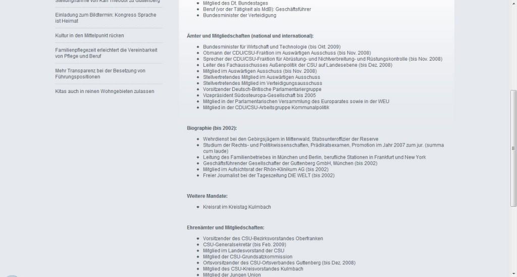 Screenshot von www.zuguttenber.de