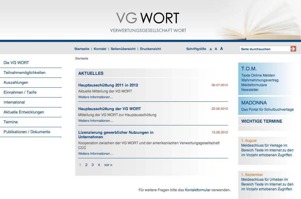 Screenshot der Homepage der VG-Wort