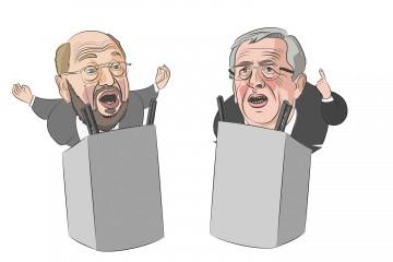 Schulz gegen Junker. Illustration: Jamie Niederer.